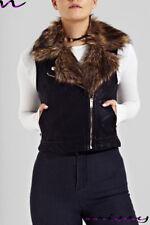 NEW WOMENS SHORT FUR PU BIKER JACKET FAUX LEATHER GILET Ladies ZIP Coat Size8-16