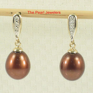 14k Yellow Gold 6 Sparkling Diamonds on Chocolate Pearl Dangle Stud Earrings TPJ