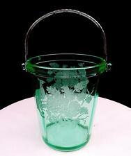 "PADEN CITY #902 GREEN PEACOCK & ROSE SILVER HANDLE VASELINE 6"" ICE BUCKET 1929-"