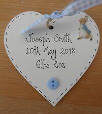 Personalised Peter Rabbit new baby birth christening gift heart keepsake gift