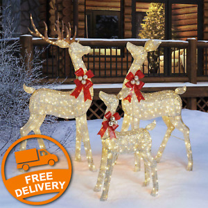 76 Inches (1.9m) Indoor / Outdoor Christmas Reindeer Family Set of 3 with LED Li