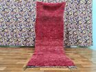 Vintage Beni Ouarain Moroccan Handmade Rug 2ft11x7ft6 Shaggy Shade of Red Carpet