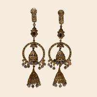 Victorian Ceylon Sapphire Chandelier Earring 925 Sterling Silver Wedding Jewelry