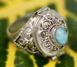 Vintage style Beautiful Larimar Handmade 925 Silver Plated Gemstone ring Y7115