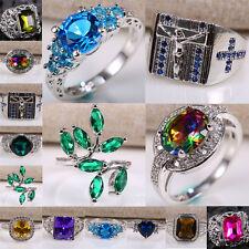 Women Fashion 925 Silver Gemstone Wedding Engagement Men Jewelry Ring Size 6-13