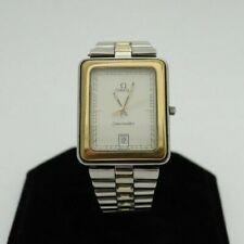 Vintage Omega Seamaster 1430 Date 2T SS Men's Square Quartz Watch 396 1004