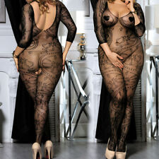 Sexy Plus Size Lace Floral Fishnet Bodystocking Crotchless Queen Black 1x 2x 3x