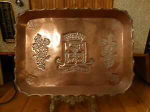 Vntage FRENCH COPPER TRAY Henry IV Urbis Palladium Et Gentis HAND STAMPED DETAIL