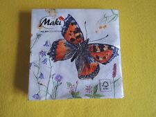 20 Servietten Schmetterlinge butterfly colour bunt weiß Blumen 1 Packung OVP