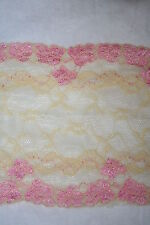 "1 yard Baby Pink Pastel Yellow GALLOON STRETCH lingerie floral LACE 5.25"" Wide"