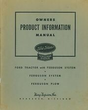 Ford Tractor with Ferguson System Owners Product Information manual 1946 reprint