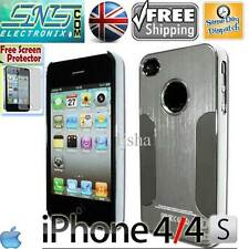 Silver Chrome Steel Metal Blaze Aluminium Case iPhone 4 4S Free Screen Protector