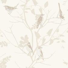 LUXURY RASCH SONGBIRD BIRDS TREES BRANCHES MOTIF METALLIC WALLPAPER ROLL 250602