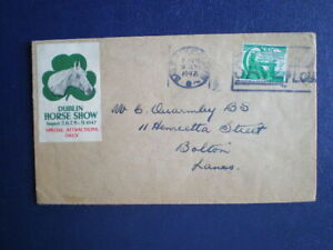 Ireland Dublin Horse show 1947 poster stamp label on stamped cover to England