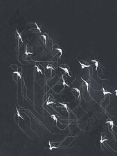 Bandada de aves silueta de arte abstracto Impresión Cartel Hp4101