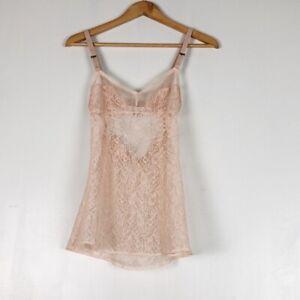 Victoria Secret Light Pink/Nude Lace Chemise Sz S