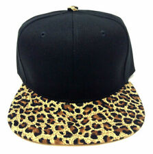 BLACK CHEETAH LEOPARD ANIMAL PRINT PATTERN SNAPBACK HAT CAP FLAT BILL ADJUSTABLE