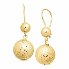Just Gold Double Bead Textured Drop Earrings in 14K Gold