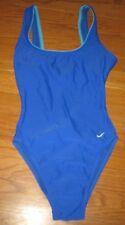 NIKE Women's Swimsuit One Piece Vintage Blue Racer Back High cut 8 Small NEW