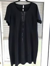 NY Collection Dress Plus Size Black with Black Faux Leather Lacing NWOT Size 1X