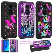 """For T-Mobile REVVL 2 (5.5"""") Dual Layer Protector Hard Case Cover Diamond Bling"""