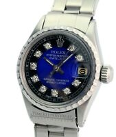 Rolex Ladies Datejust 6517  26mm SS Blue Vignette Diamond Dial 26mm Watch