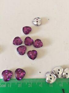 10 Love Purple Silver Button Sewing Craft Heart Shape
