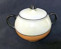 Lusterware Porcelain Sugar Bowl 1950 Germany Pearl Iridescent Tan Ivory Black