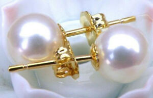 Real Natural 9.5-10mm AAAA+ Grade Perfect Round White Akoya Pearl Earrings 14K