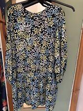 Vestido blusón H&M azul y amarillo estampado floral Talla L (se adapta a 14/16/18)