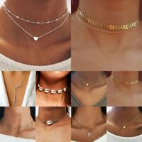 Elegant Women Heart Star Crystal Pendant Necklace Clavicle Choker Chain Jewelry