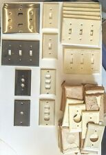 Vintage 40 Bakelite Ivory outlet & switch 10 metal covers