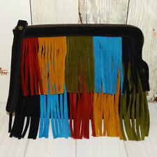 Patricia Nash Multicolor Boho Fringe Suede Leather Wristlet Clutch Bag