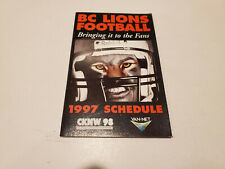 RS20 BC Lions 1997 CFL Football Pocket Schedule - Molson Canadian