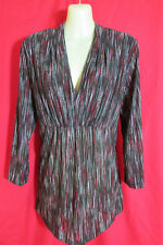 Katies Brown/Red/Black/Cream L/Sleeve V-Neck High Waisted Stretchy Top Size XL