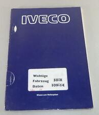 Formation Support IVECO 50-8/109-14 données du véhicule