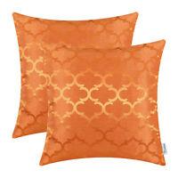 "2Pcs Orange Cushion Covers Pillow Shells Accent Geometric Home Sofa Decor 18x18"""