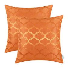 "2Pcs Orange Cushion Covers Pillow Case Accent Geometric Home Sofa Decor 20""X20"""