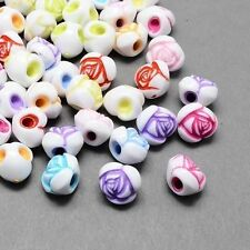 100pcs Mixed Colorful Flower Pony Bead Acrylic Beads Kids Jewelry Craft Finding