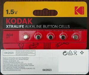 KODAK XTRALIFE LR66 LR626 AG4 377 1.5V Alkaline Button Cell Battery x 5   M10-04