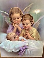 "VTG ""Guardian Angel Children Watching Baby"" Glossy Art Picture Board 14""x11"""