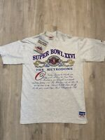 Vintage Nutmeg Super Bowl Tshirt XXVI 1992 NFL NEW Single Stitch VTG 90s Large