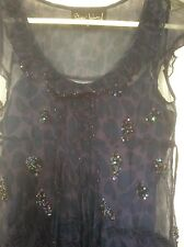 River Island top, size 10, navy, sequinned chiffon with under top. Fabulous