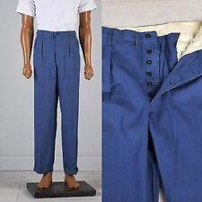 35x30 Deadstock 1940s 40s Hercules Button Fly Workwear Pants Blue Sanforized