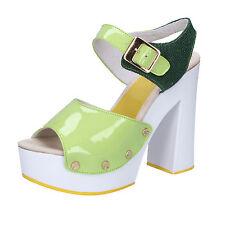 scarpe donna SUKY BRAND 37 EU sandali verde vernice tessuto AB321