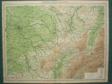 1921 LARGE MAP ~ FRANCE NORTH-EASTERN SECTION PARIS TROYES BASEL STRASBOURG