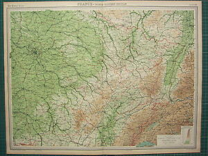1921 LARGE MAP ~ FRANCE NORTH-EASTERN SECTION PARIS TROYES BASEL STRASBOURG