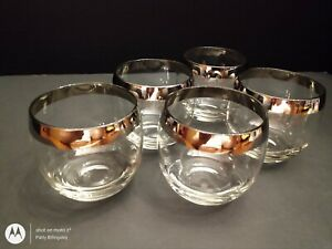 Vintage Mid-century Modern Dorothy Thorpe Silver Rim Roly Poly Tumblers Glasses