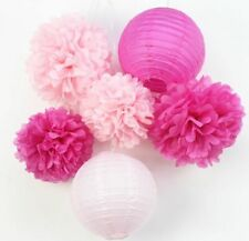 Paper Lantern And Pompom Party Decoration Set Hanging Backdrop Wall Ornament New