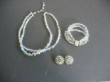 "Vtg 50""+ Auro Borealis Crystal necklace bracelet & earrings iridescent beads"